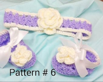 Crochet Pattern Headband  pattern Booties pattern Baby crochet pattern Baby booties Baby headband Baby Girl Crochet pattern Flower Pattern