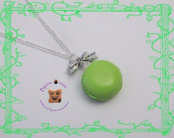 Macaroon necklace two gourmet green Fimo