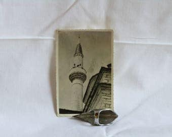 Vintage Real Photo Postcard black & white of a minaret. Vintage photo postcard, Vintage photo, original photo postcard, minaret photo.