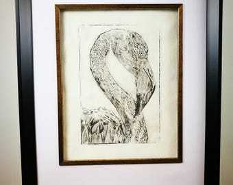 Flamingo Dry Point etching