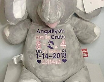 Cubbies Elle Elephant Personalized & Embroidered Monogrammed Stuffed Animal Gift