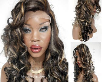 Jhonni curly lace front wig LOTS of blonde hilights Kelly Rowland lace front wig Curly Lace Front wig wig Curly lace wig drag  lace wig