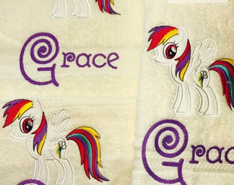 """Personalised Embroidered Towel Set """"MY LIL PONY"""" name free*"""