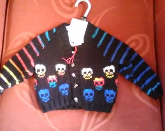 Hand knitted Skull themed cardigan to fit a baby boy aged 3-6 months old