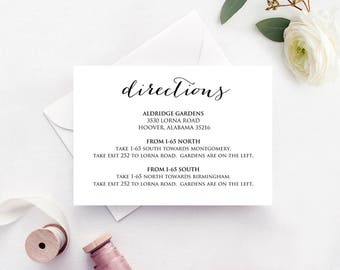 Directions Card Insert, Wedding Direction Details Card Template, DIY Details Template, Printable Wedding Details Card Templates