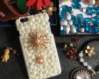 Bling Pearls Cute Silver Gold Sunflower Pendant Sparkles Charms Glossy Crystals Rhinestones Diamonds Gems Hard Cover Case for Mobile Phone