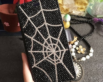 New Slot Cards Holder Flip Wallet Leather Fashion Spider Web Luxury Case Crystals Rhinestones Diamonds Jewelry Lovely Case for Mobile Phones