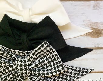 Gorgeous Wrap Trio (3 Gorgeous Wraps)- Blanc, Noir & Noir Houndstooth Gorgeous Wraps; headwraps; fabric head wraps; headbands