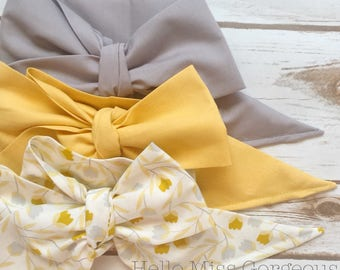 Gorgeous Wrap Trio (3 Gorgeous Wraps)- Ash, Vintage Yellow & Holland Tulips Gorgeous Wraps; headwraps; fabric head wraps; bows