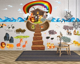 Marvelous Christian Noahu0027s Ark With Animals And Rainbow Wall Decals For Children Sunday  School Class   WDSET10056 Part 32