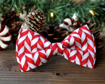 Peppermint Stick Bow Tie | Christmas Bow Tie for Boys | Christmas Bow Tie for Dog | Christmas Bow Tie for Men | Gift for Him | Red Bow Tie