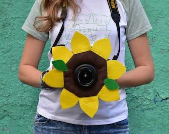 Sunflower, Camera Lens Buddy, Camera Accessories, Lens Buddy, Crochet Lens Critter, Photographer Helper, Family Photography