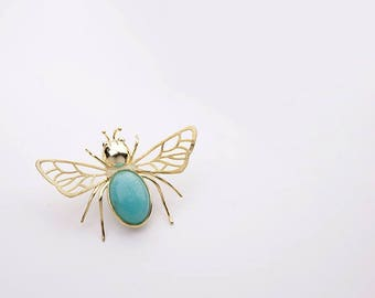 Real Bee Brooch-Sterling Silver Honeybee Charm Brooch-Silver Wing-Gems Bee-Insect Bee Jewelry-Gift for her