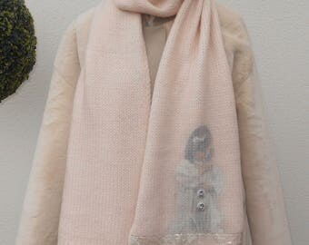 """Long scarf """"nostalgia of childhood"""" customized with my buttons in resin"""