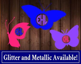 Glitter Butterfly Monogram Decal Sticker, Butterfly Car Decal Sticker, Butterfly Monogram, Butterfly Yeti Decal Sticker, Glitter Monogram,