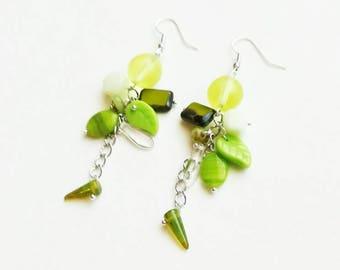 Green Czech glass beads earrings boho medium long bronze handmade earrings light earrings handmade Czech glass beads earrings gift for her
