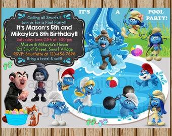 "Smurfs Pool Party Birthday Invitation- Smurfs Birthday Invite- Pool Party Birthday Invitation- Sibling Birthday Invite-  5""x7"" size- Digital"