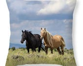 Corona Microfiber Throw Pillow 16x16 - Sand Wash Basin, wild stallion, mustang, wild horse, northwest Colorado, wild mare