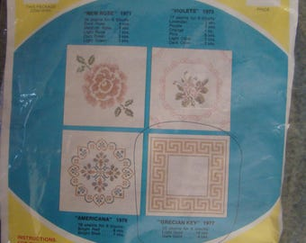 """6*vtg.-wonderart quilt blocks to embroidery*estate sale for quilt top*grecian key-18 by 18 """"-"""