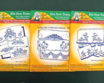3 Aunt Martha's Hot Iron Transfers Floral Pillow slip and Bedroom Set