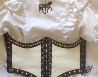 Vintage leather corset waist cinch costume /punk goth with studs