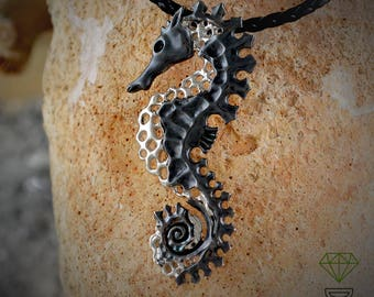 Skull Seahorse Pendant, Beach Pendant Boho Jewelry Skull Animal Pendant Marine Necklace Skull Sea Animal Skull