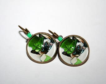 Siamese cats earrings lucky Shamrock 4 leaf