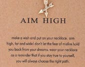 Aim High Crossed Arrows Gold Plated Inspirational Necklace