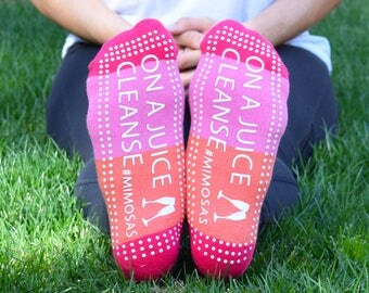 On A Juice Cleanse #Mimosas Sticky Socks for Barre, Pilates, Yoga