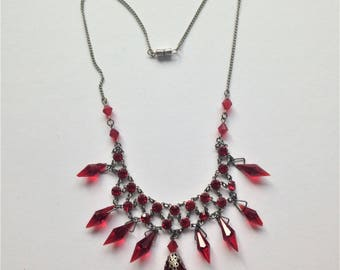 Vintage Red Glass Necklace, Lavaliere Necklace, 1930's Necklace,