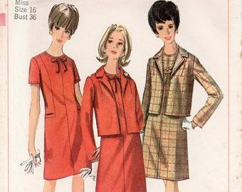 "1960s Dress Suit Pattern Dress And Jacket SIMPLICITY 6747 bust 36"" Straight Dress Box Jacket Pattern 1960s Dress Pattern Shift Dress Pattern"