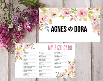 PRINTABLE Agnes and Dora My Sizes Card, Size Cards, Business Card, Business Cards, Instant Download AG010