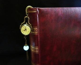 Pocket Quartz Watch //Bronze bookmark //glow in the dark