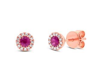 Diamond & 0.28ct Ruby 14k Rose Gold Stud Earring