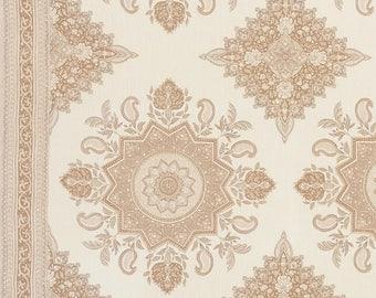 SCHUMACHER PERSIAN TURKISH Medallions W Borders Linen Fabric 10 yards Neutral