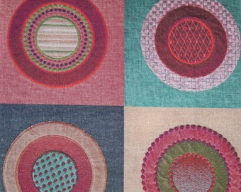 LEE JOFA KRAVET Boho Circles Quads Embroidered Linen Fabric 10 Yards Red Multi