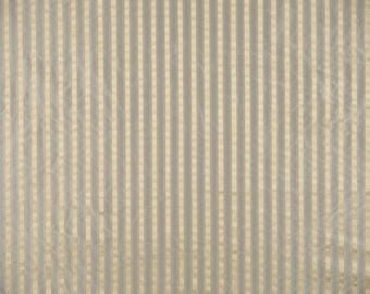 SCALAMANDRE SHIRRED STRIPE Silk Taffeta Fabric 10 Yards Blue Grey