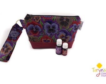 Essential Oil Bag, Pansy Print, Cork Leather, Young Living Oil Case, doTerra Storage Bag, Essential Oil Storage, Travel Case, Toiletry Case