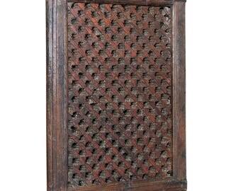 Antique Maysan Carved Lattice Mirror, Teak Jali, Wooden Jali, Wood Lattice Mirror, Indian Mirror, Bohemian Mirror, Teak Wood Mirror