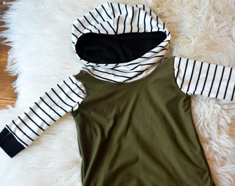 Little girls sweater dress , Olive green black and white stripes, Baby hoodie set, Fall sweater, Baby sweater,