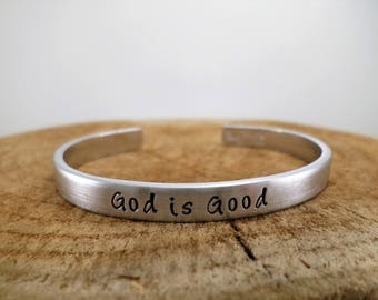 God is Good - Hand-Stamped Bangle
