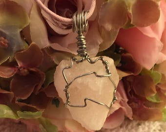 Himalayan Pink Sea Salt Wire Wrapped Necklace