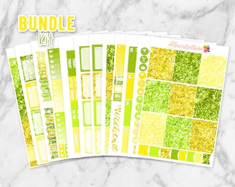 August BUNDLE Kit! All 12 Sheets of Monthly Items (Includes Full Boxes, Little Things, Habit Trackers, Glitter Headers, Washi & lots more!)