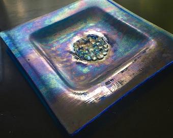 Blue dichroic art glass dish