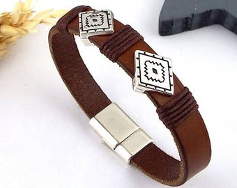 ethnic Brown Leather Bracelet boho bead and silver plated clasp