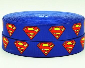 7/8 inch SUPERHERO - Super Hero - Super heroes blue red - Printed Grosgrain Ribbon for Hair Bow