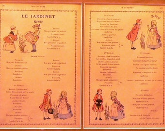 "1905 French Poem ""Le Jardinet"" Matted Antique Print (Little Garden)"