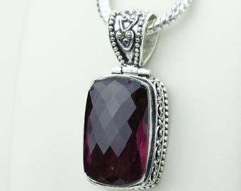 Facated Vintage Setting Garnet 925 S0LID Sterling Silver Pendant + 4MM Snake Chain & Worldwide Shipping p4225