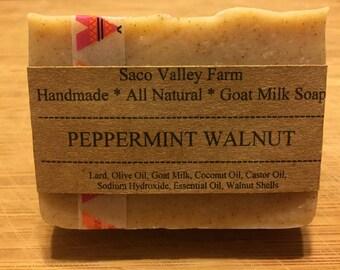 Peppermint Walnut Goat Milk Soap, Cold Process Soap, Handmade Farm Soap