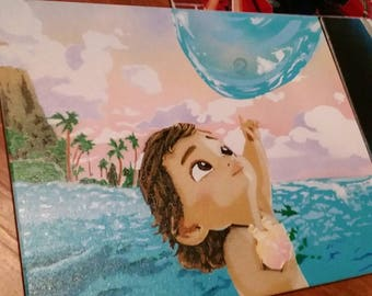 Baby Moana, original spray painted canvas